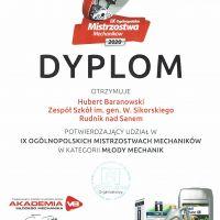 Dyplomy za udział IX Ogólnopolskich Mistrzostwach Mechaników